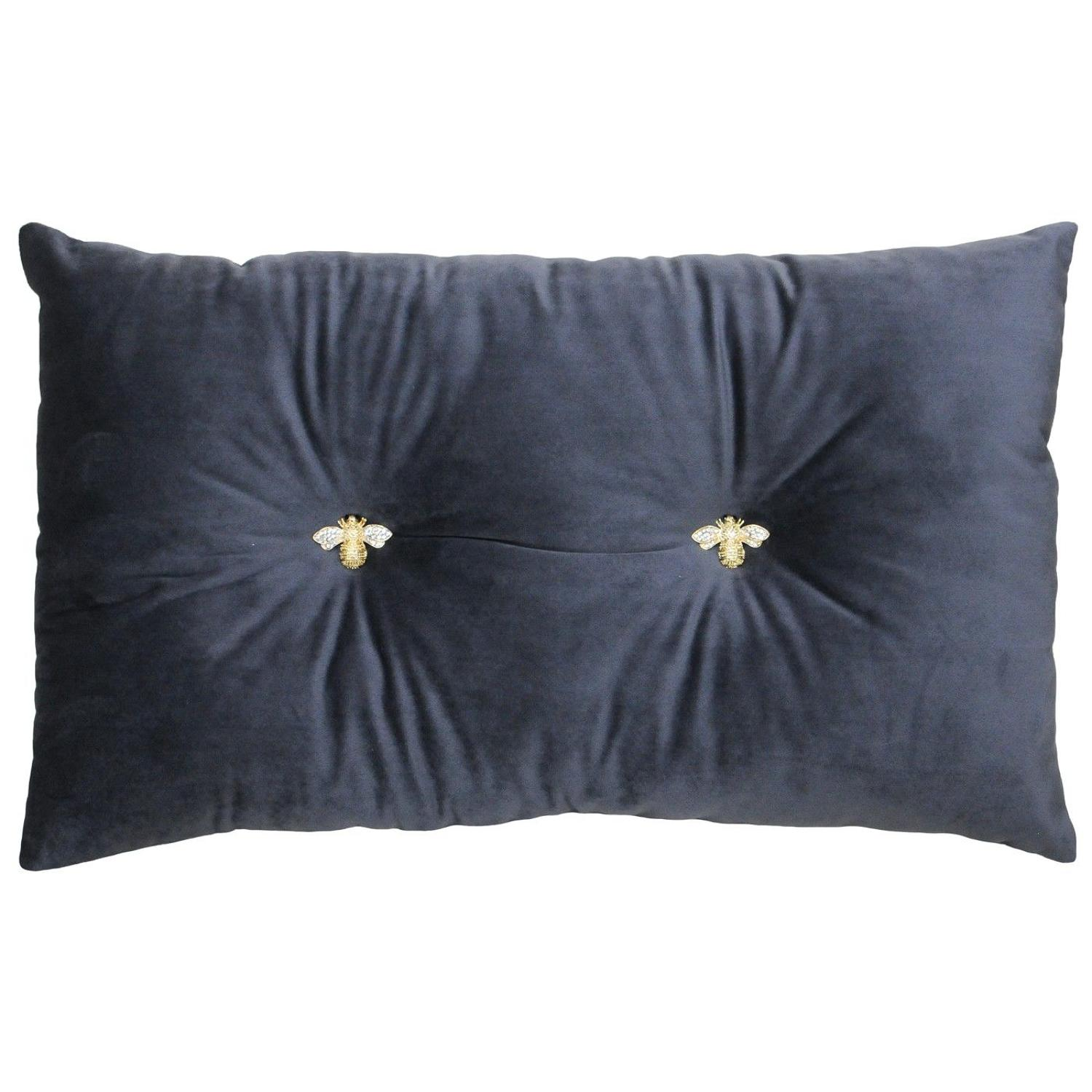 Queen Bee Slate - Velvet soft oblong cushion with jewelled bees
