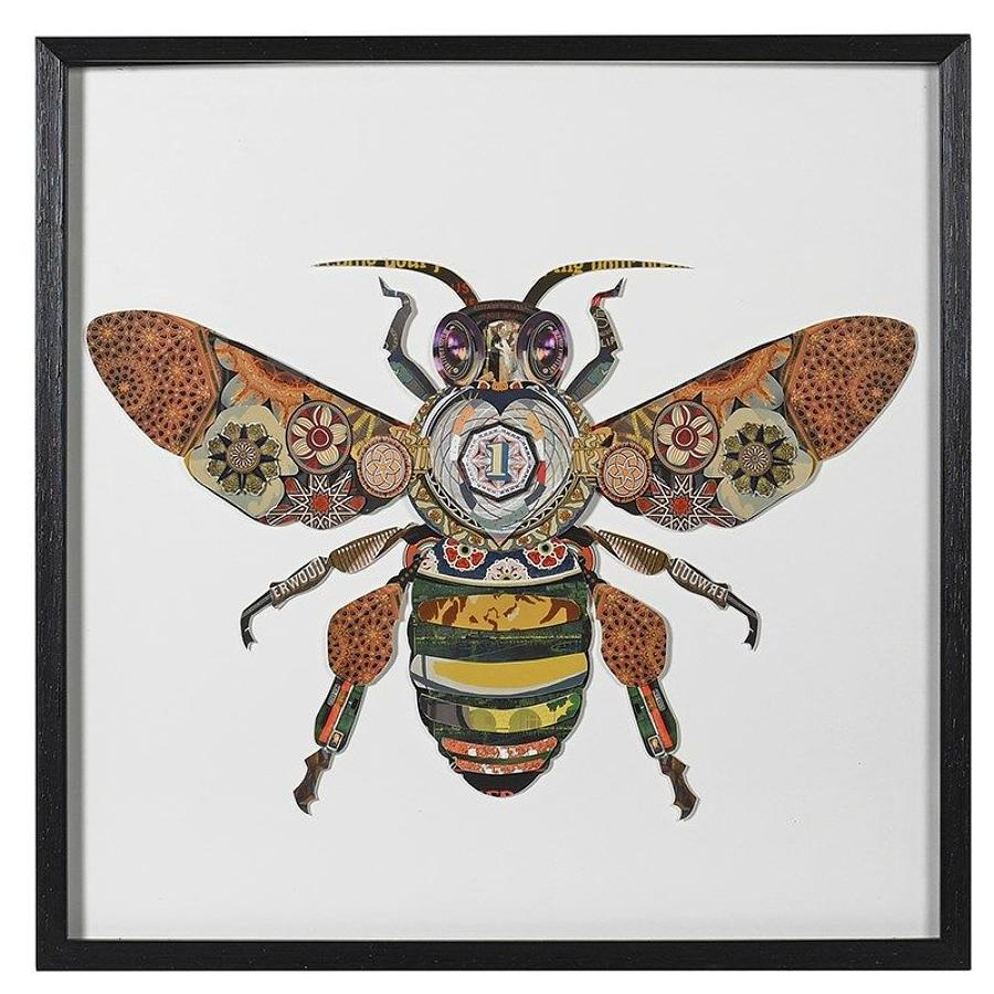 3D framed collage of honey bee