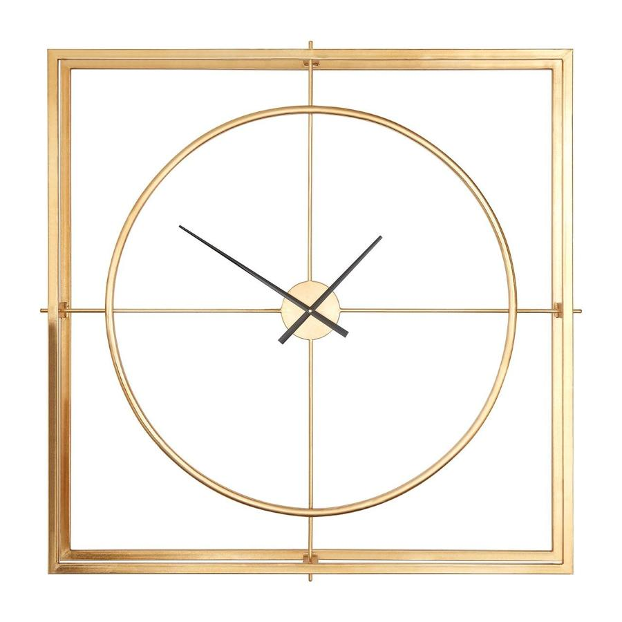 Double layer square metal clock in warm gold