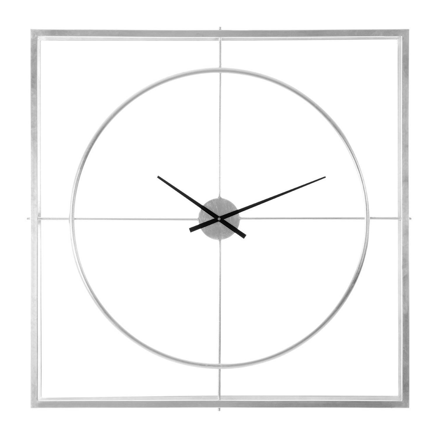 Double layer square metal clock in cool silver