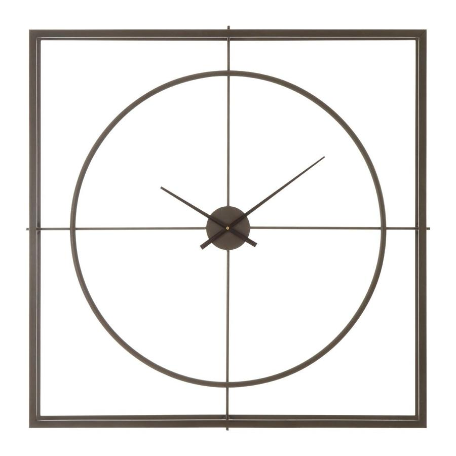 Double layer square metal clock in rustic black