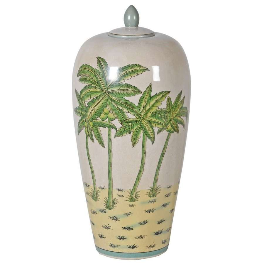 Large palm tree jar with lid