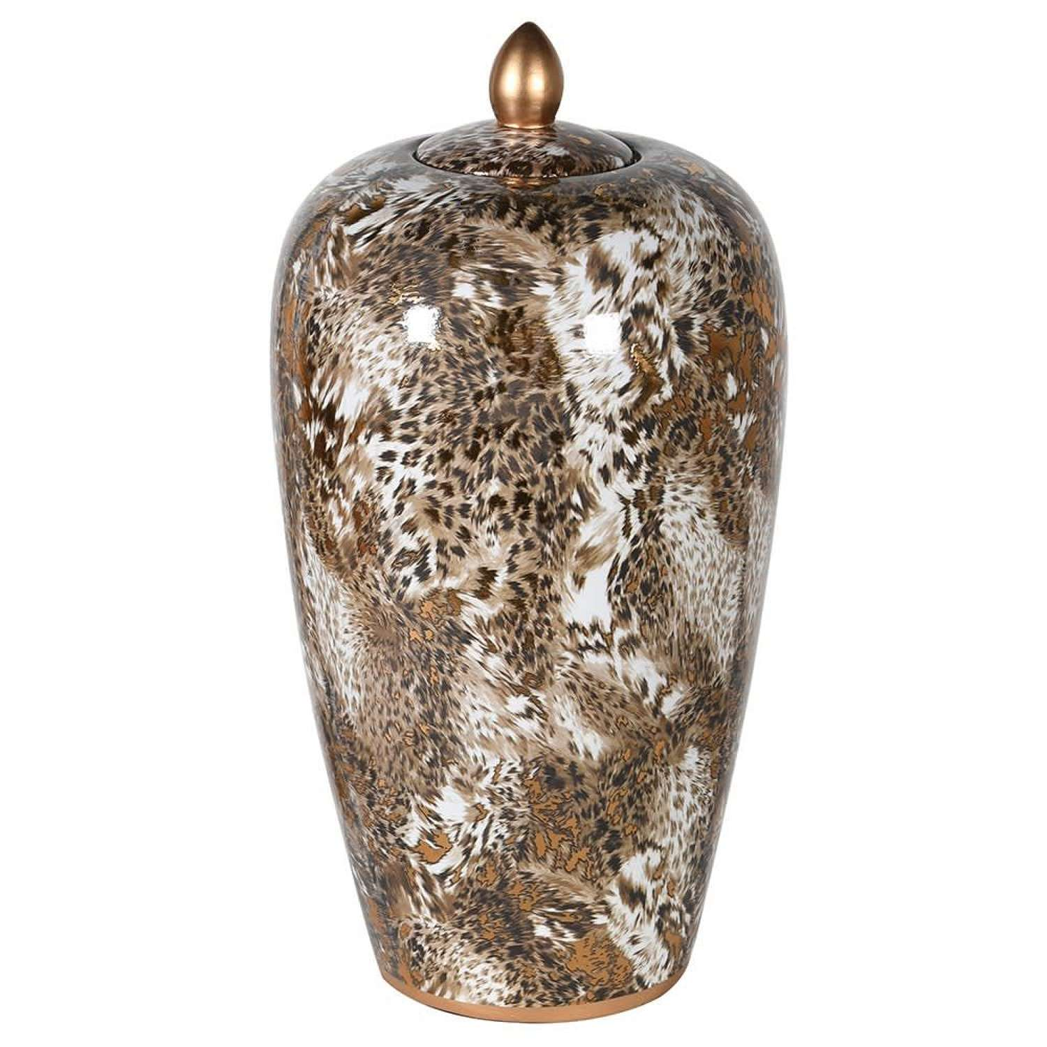 Tall leopard print jar with lid