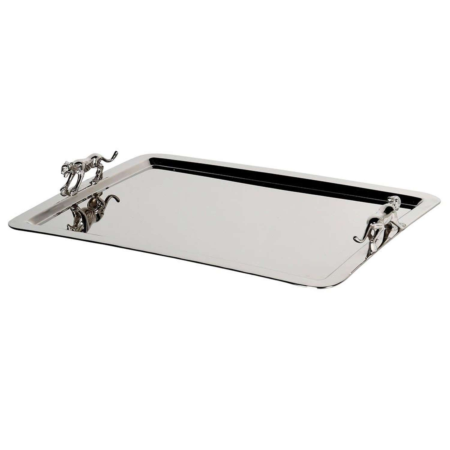 Nickel tray with panther handles
