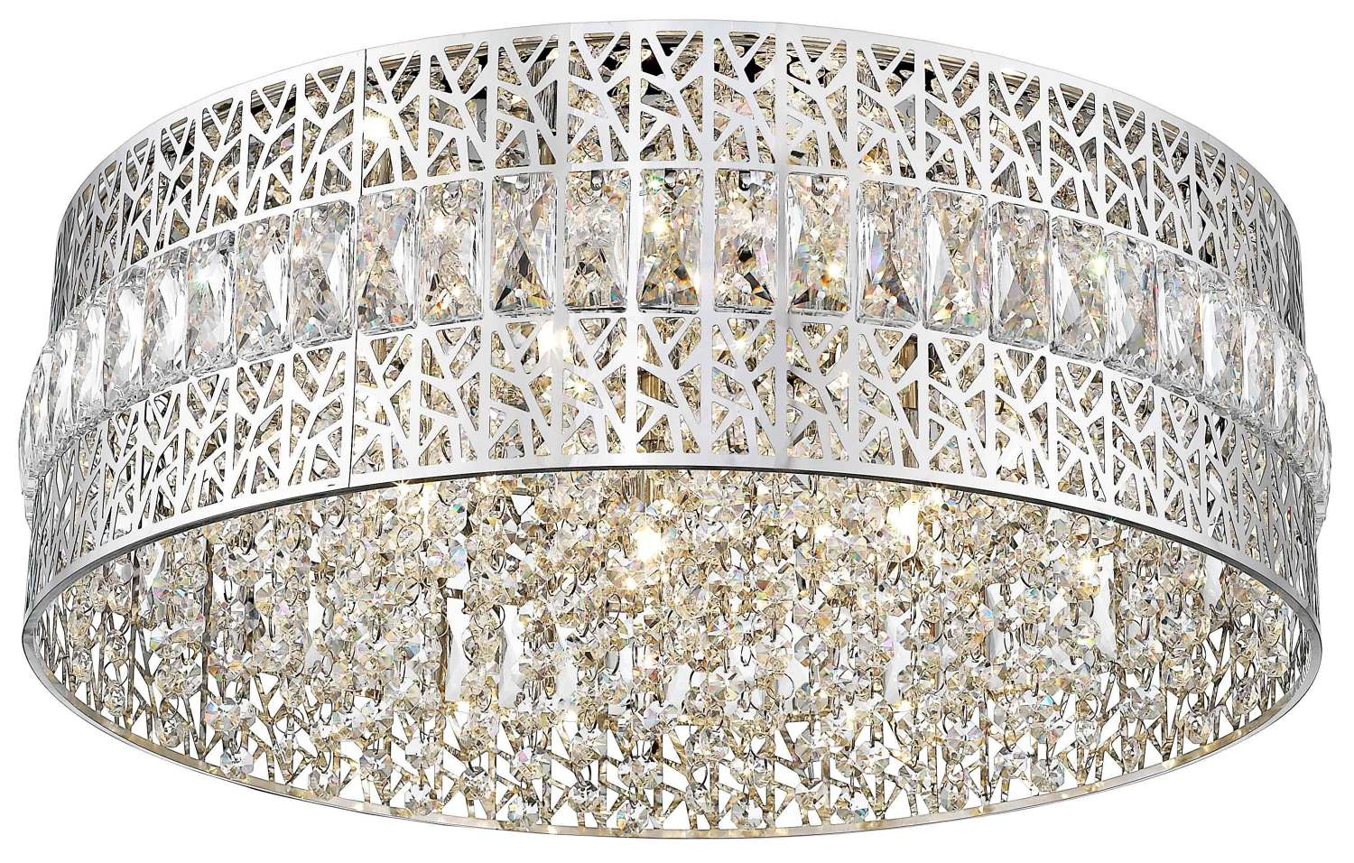 Chrome and Crystal Flush Chandelier