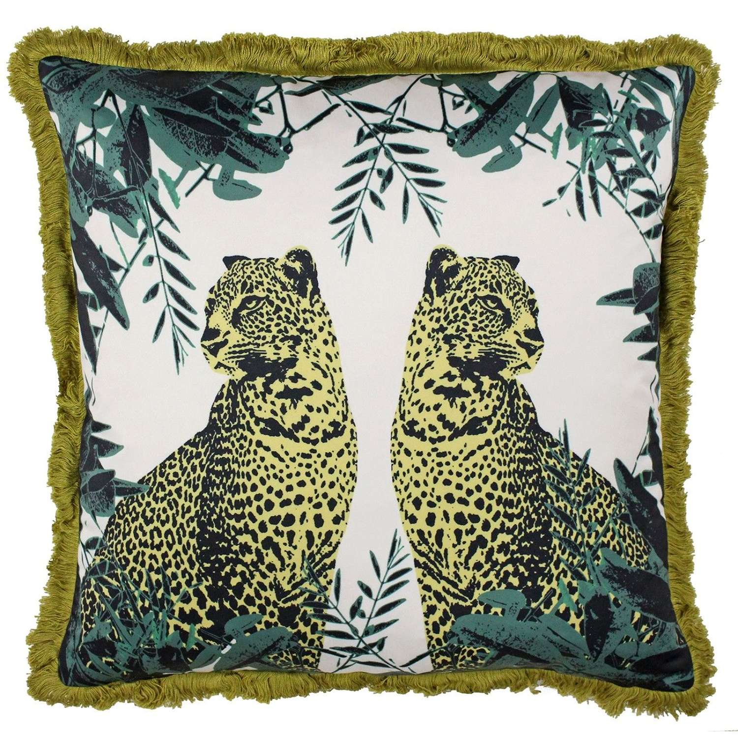 Twin Leopard Cushion with Olive Trim