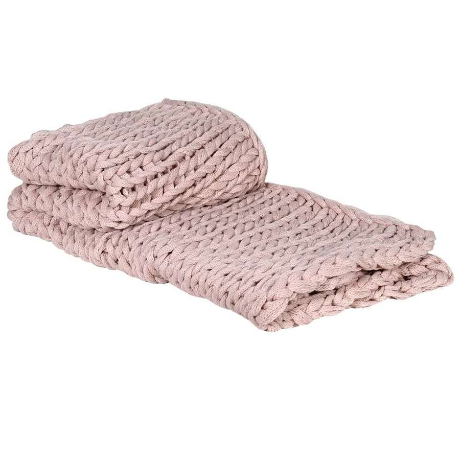 Soft Pink Chunky Knit Throw - Rustic Look