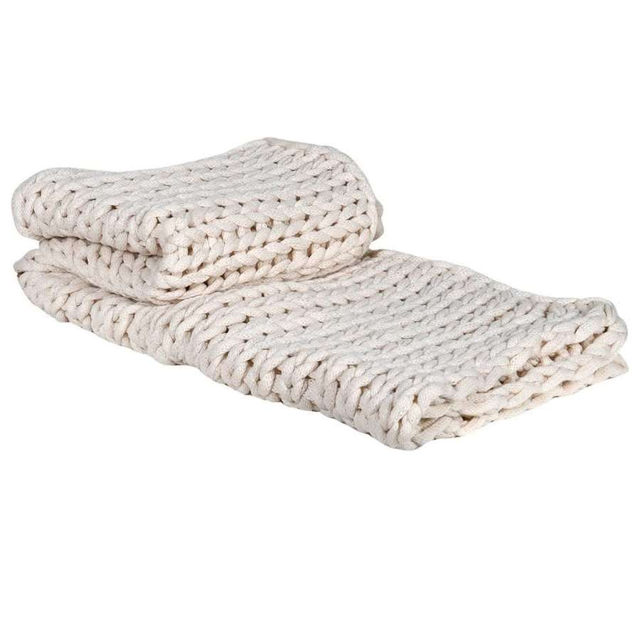 Soft Cream Chunky Knit Throw - Rustic Look