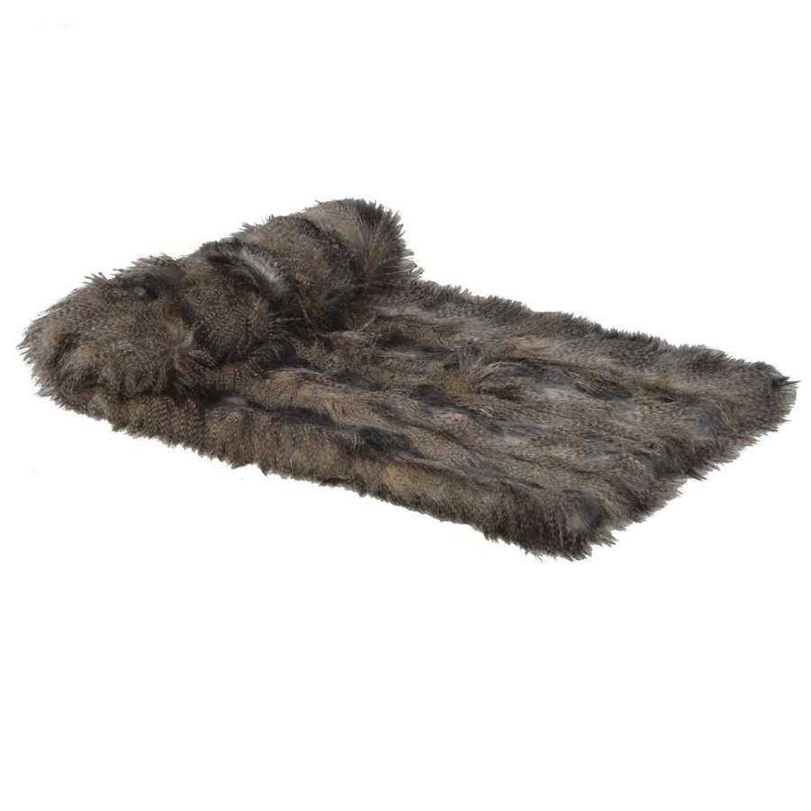 Speckled, Stiped Faux Fur Throw