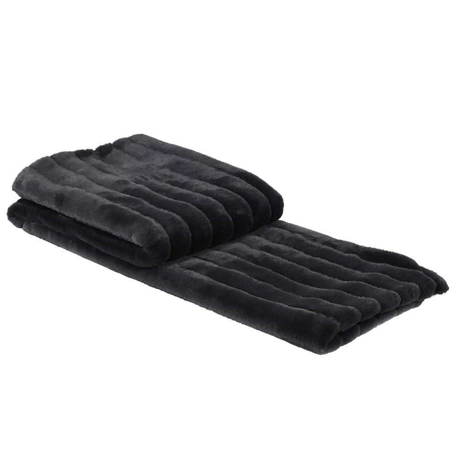Deep Slate Coloured Faux Fur Throw - Channel Design