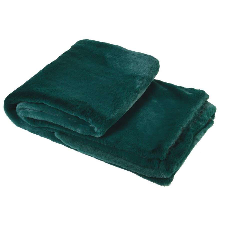 Forest Green Faux Fur Throw