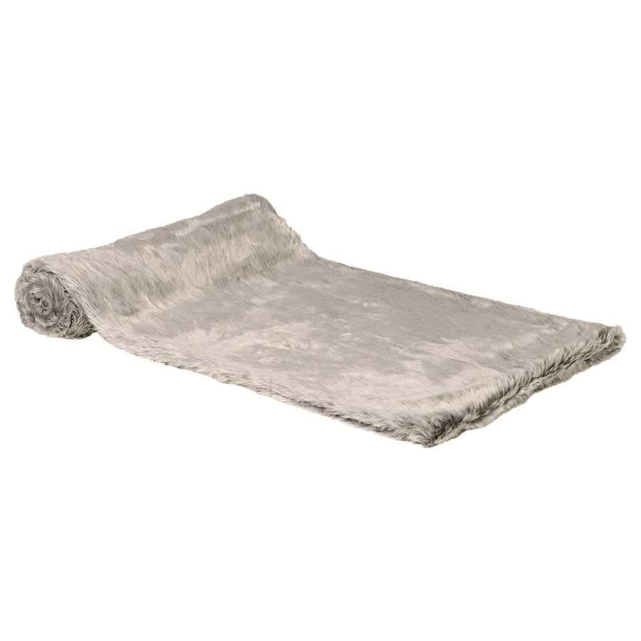 Large, Thick Silver Faux Throw
