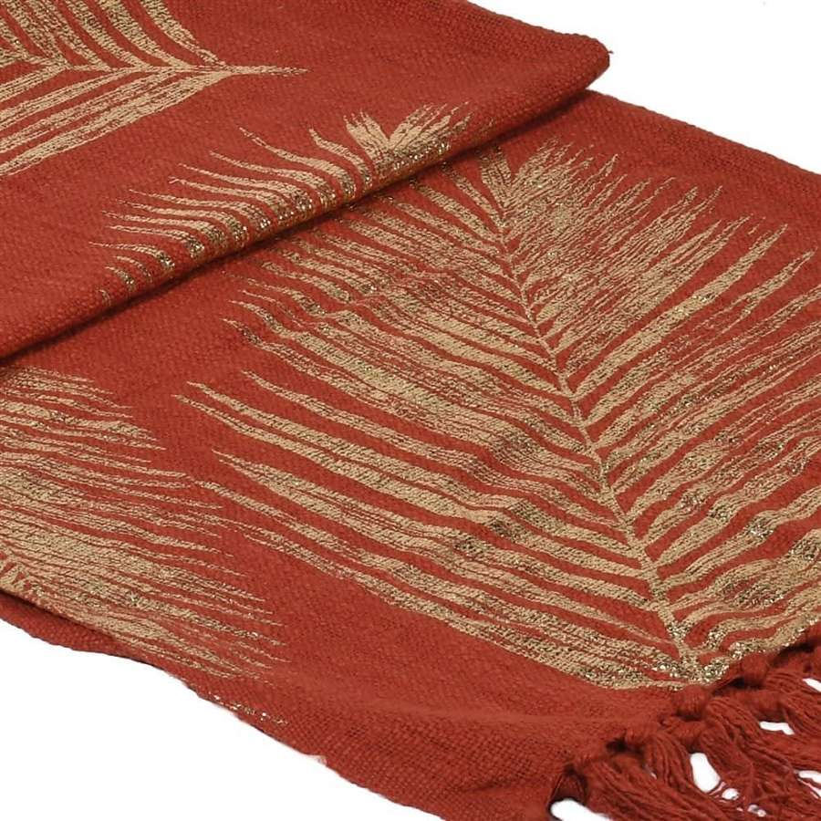 Rust Fringed Throw with Gold Palm Leaves Design