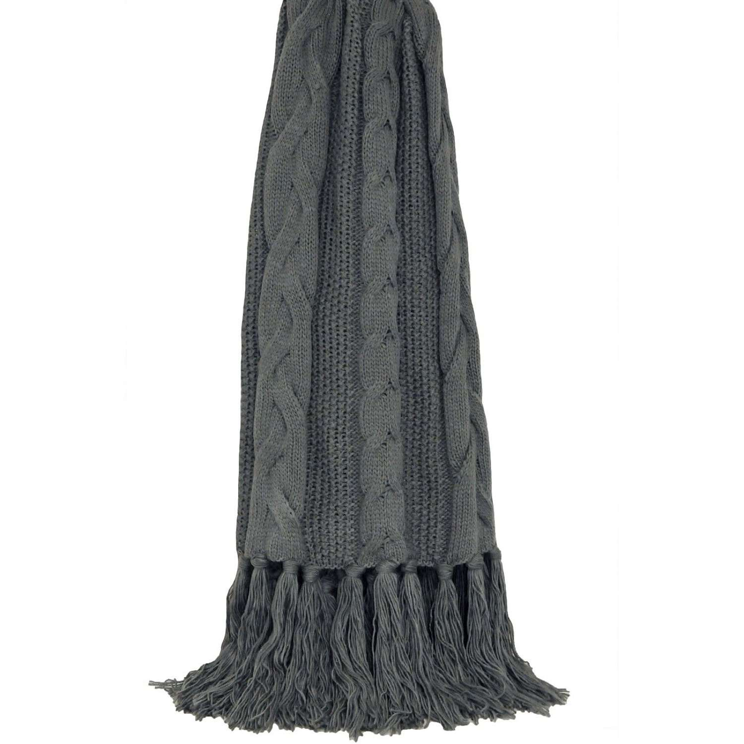 Cable Knit Fringed Throw - Slate