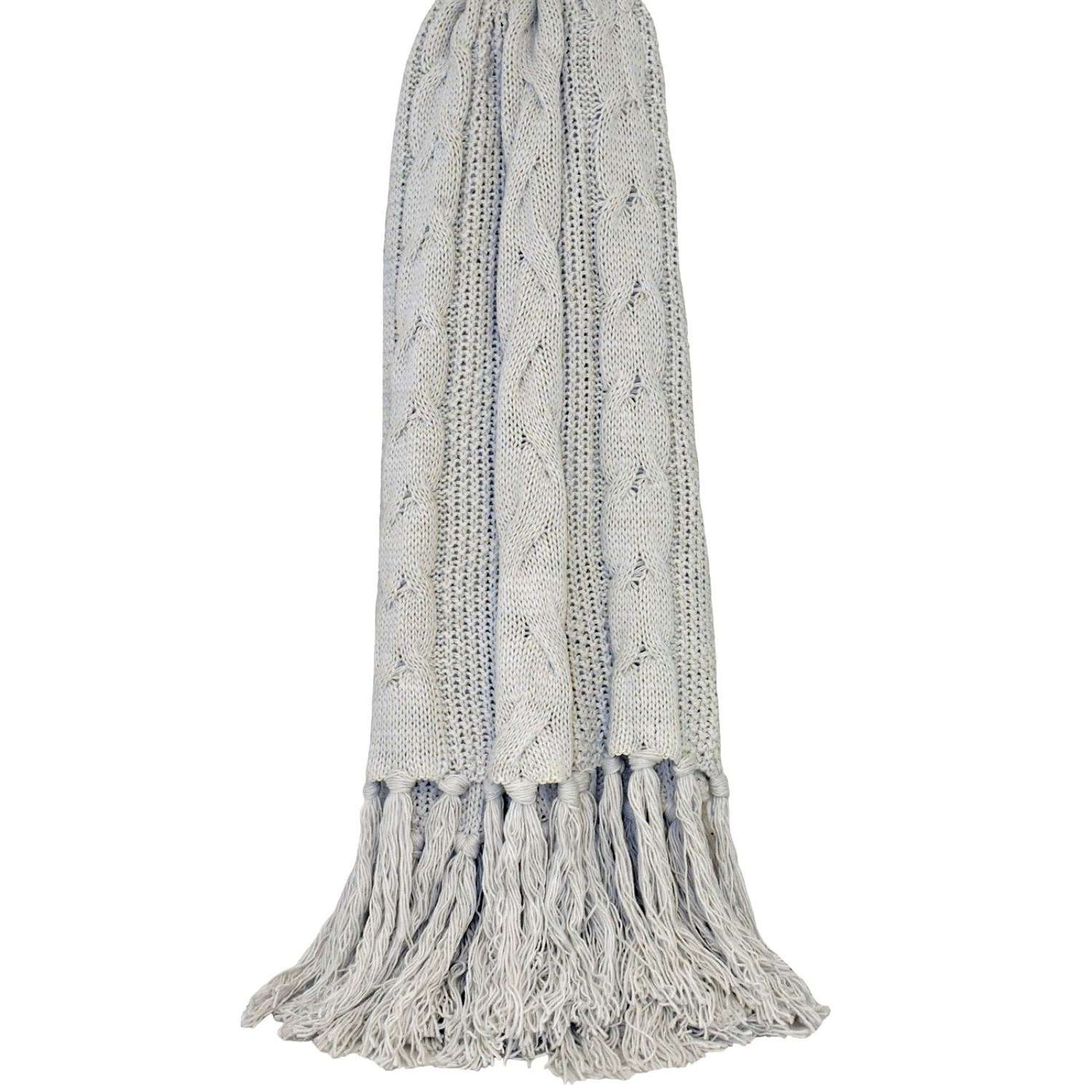 Cable Knit Fringed Throw - Silver
