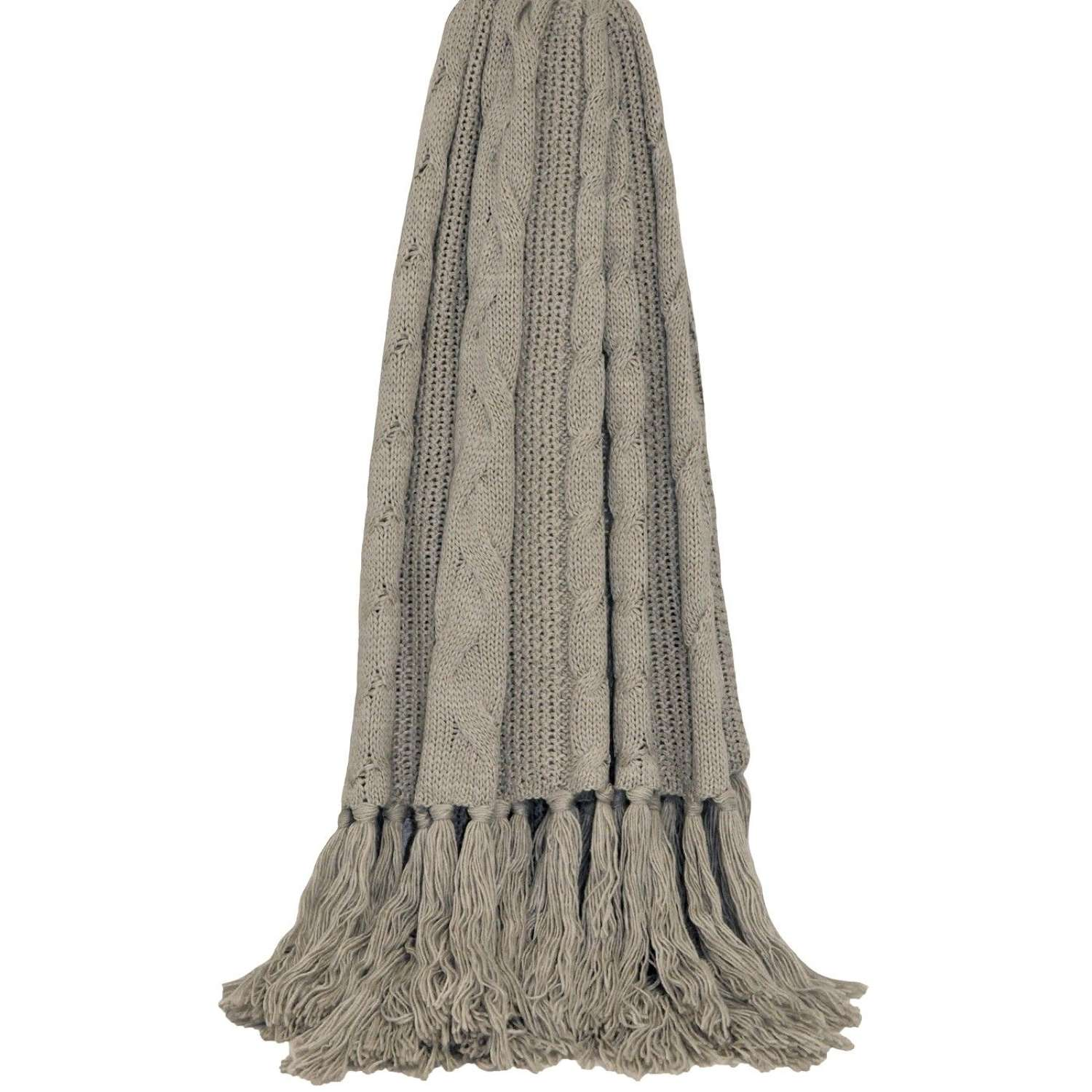 Cable Knit Fringed Throw - Taupe