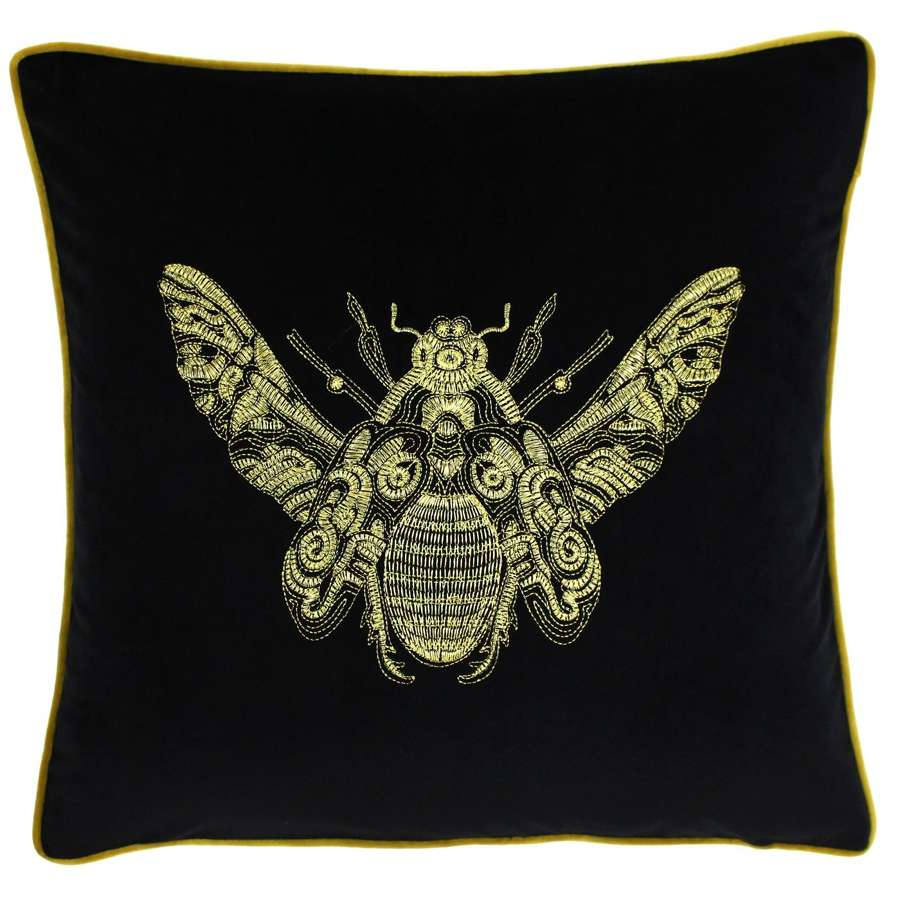 Velvet Piped Cushion with Embroidered Bee - Ebony
