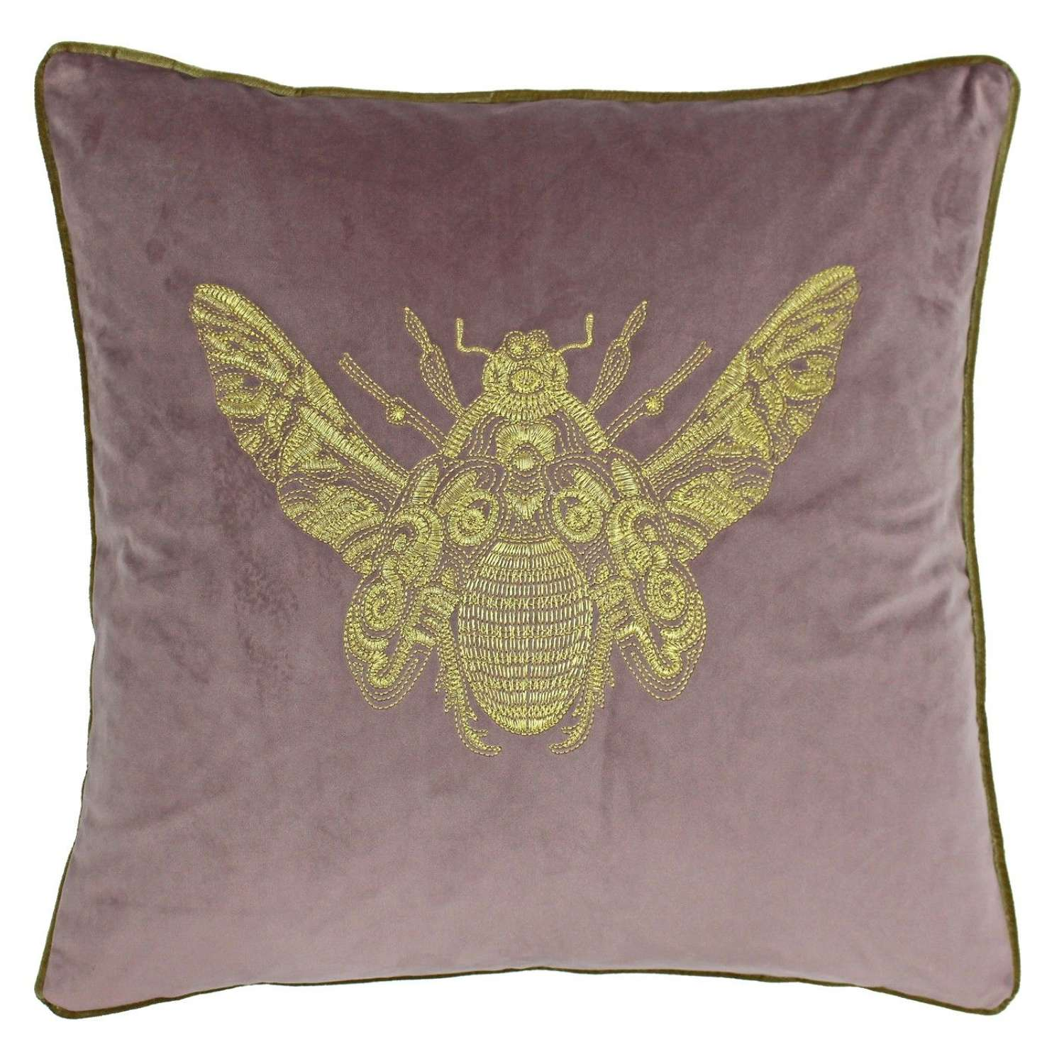 Velvet Piped Cushion with Embroidered Bee - Blush