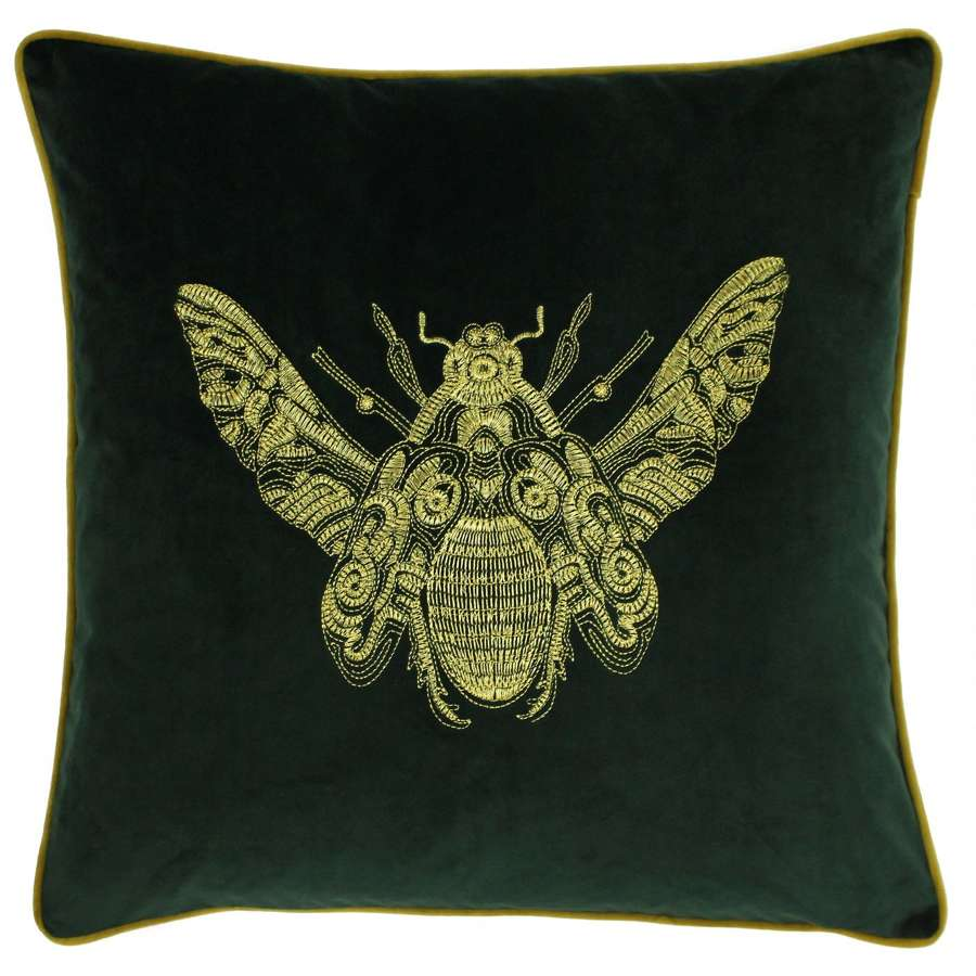 Velvet Piped Cushion with Embroidered Bee - Forest