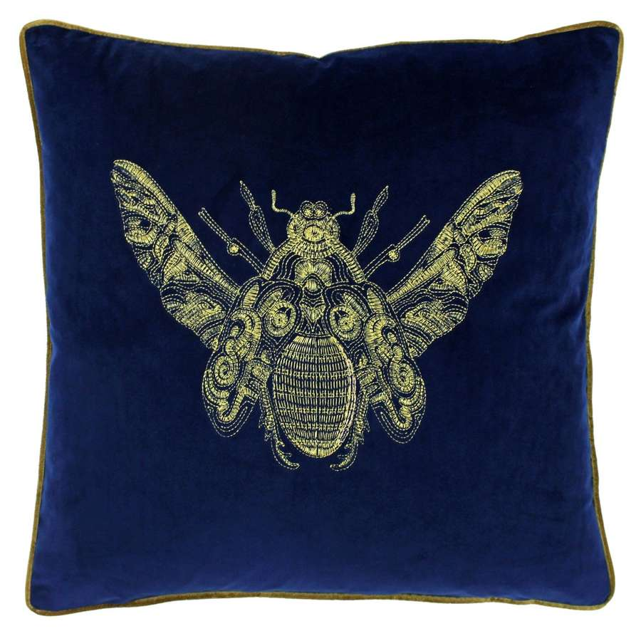 Velvet Piped Cushion with Embroidered Bee - Royal Blue