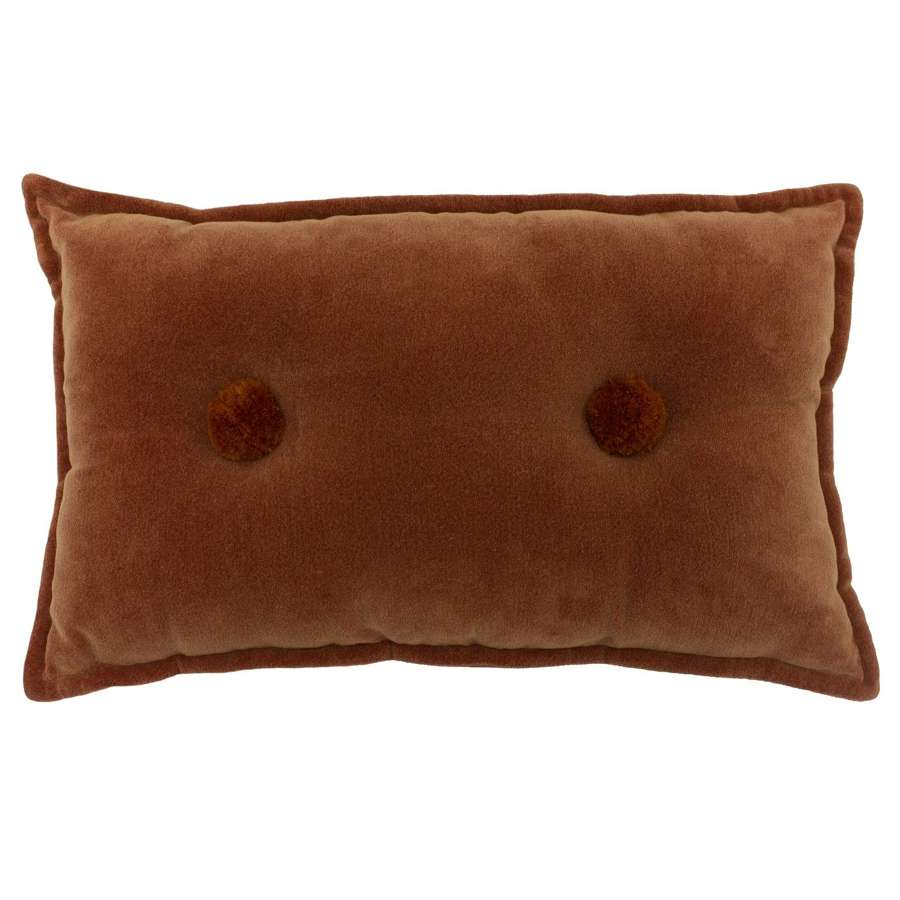 Soft Oblong Cushion with Double Tufted Pom Pom - Rust