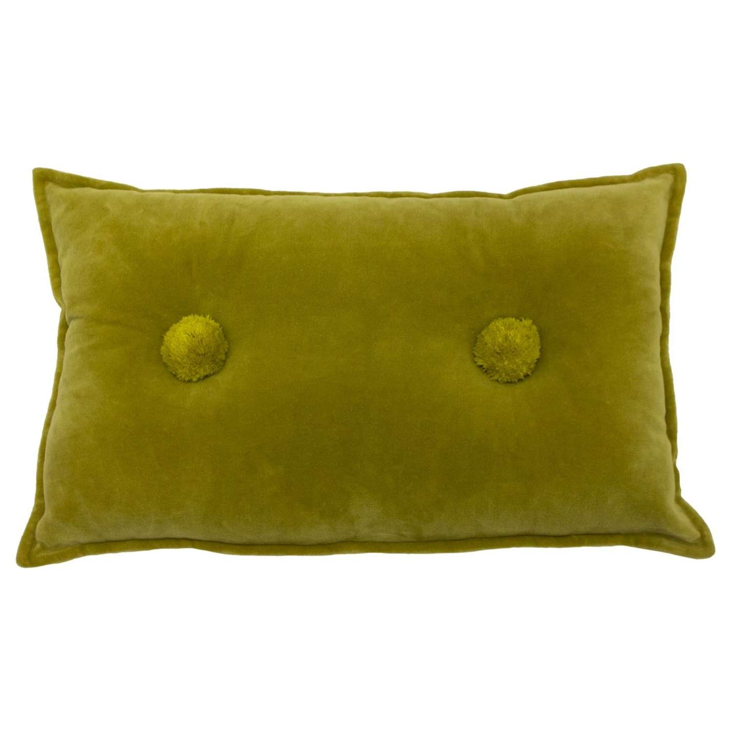 Soft Oblong Cushion with Double Tufted Pom Pom - Mustard