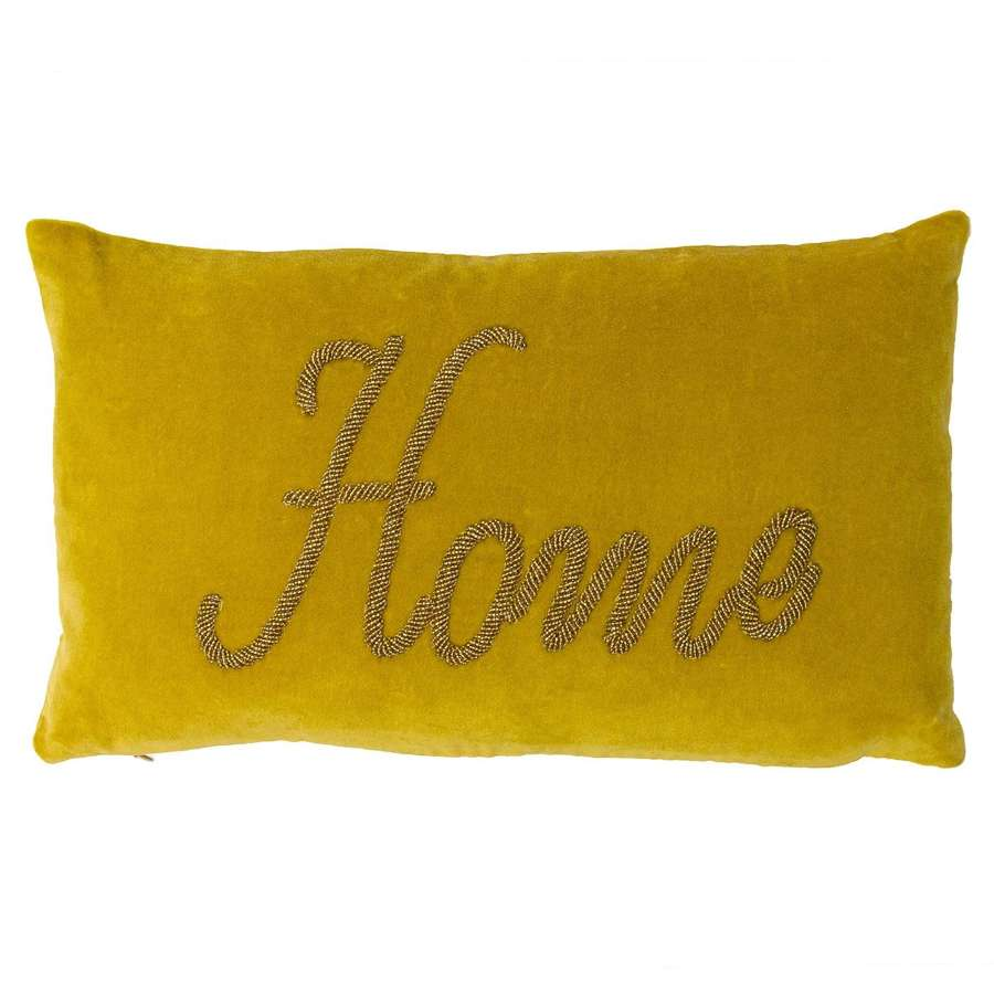 Beaded 'Home' Oblong Cushion - Mustard