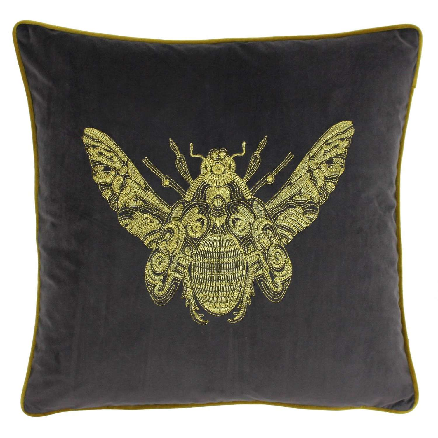 Velvet Piped Cushion with Embroidered Bee - Slate