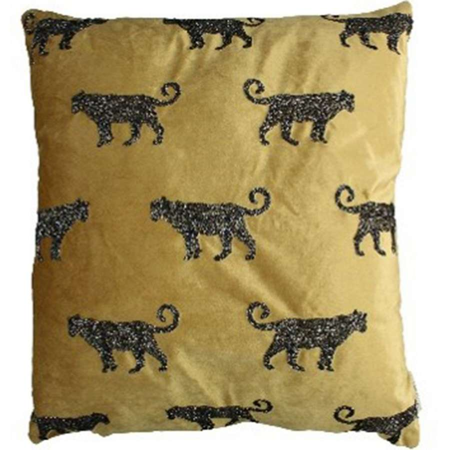 Large Golden Velvet Cushion with Beaded Leopard