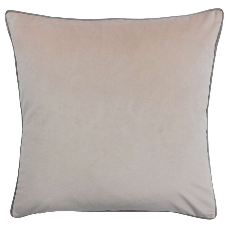 Square Velvet Cushion with Contrast Piping - Blush/Grey