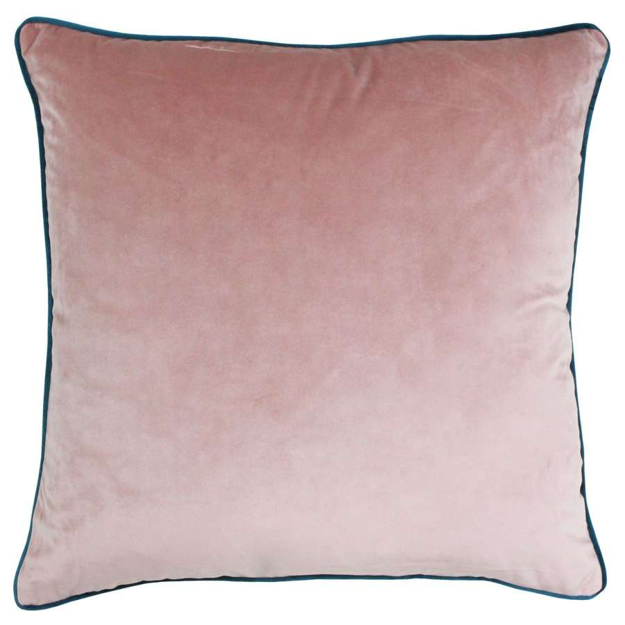 Square Velvet Cushion with Contrast Piping - Blush/Teal