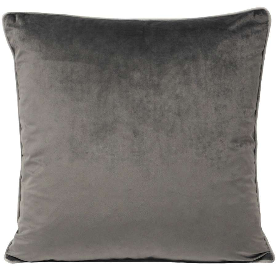 Square Velvet Cushion with Contrast Piping - Slate/Silver