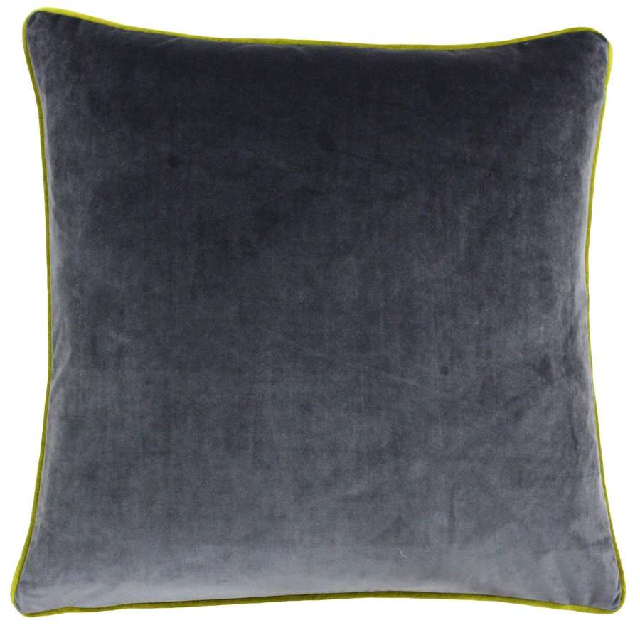 Square Velvet Cushion with Contrast Piping - Slate/Chartreuse