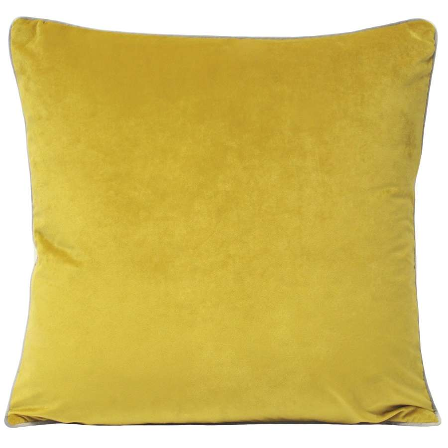 Square Velvet Cushion with Contrast Piping - Yellow/Silver