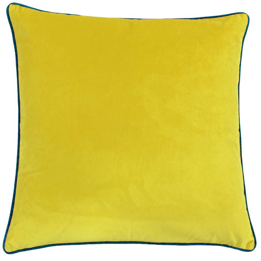 Square Velvet Cushion with Contrast Piping - Sunshine/Teal