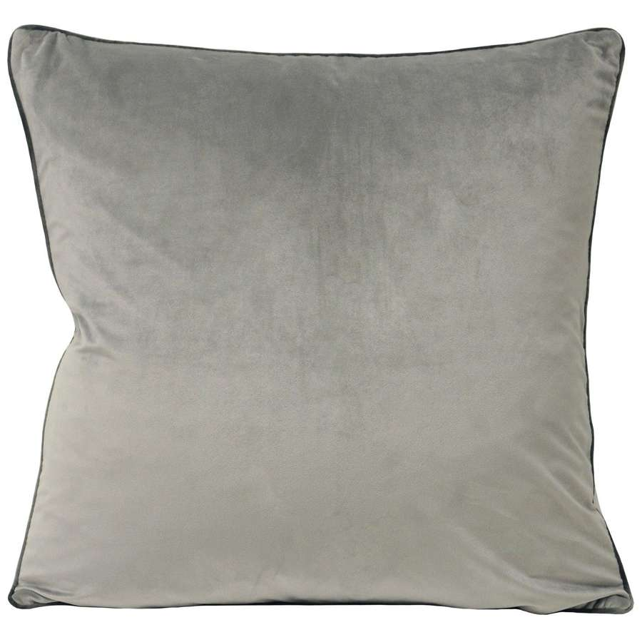 Square Velvet Cushion with Contrast Piping - Silver/Slate