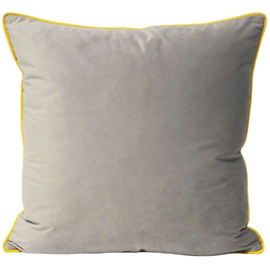 Square Velvet Cushion with Contrast Piping - Silver/Sunshine
