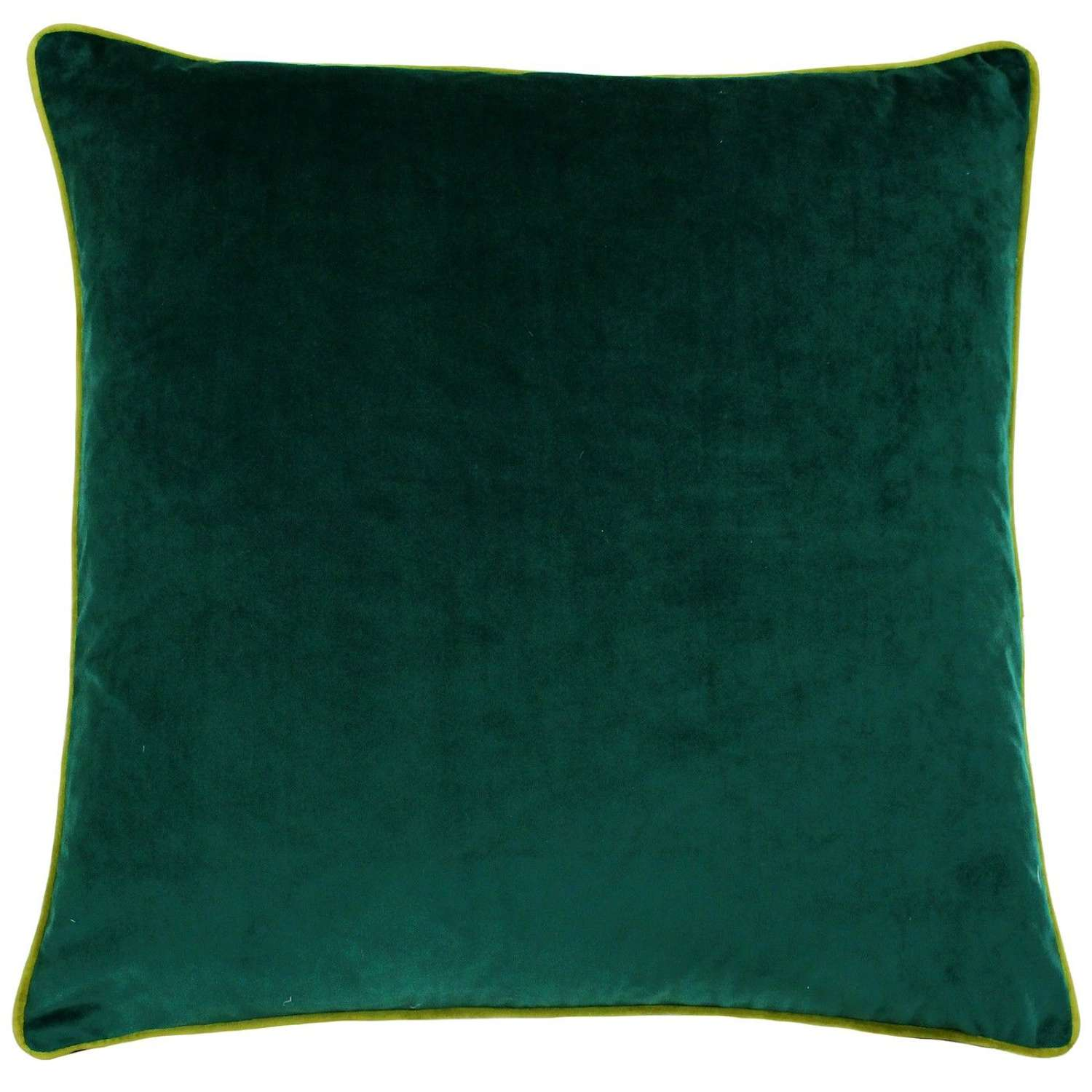 Square Velvet Cushion with Contrast Piping - Forest/Moss