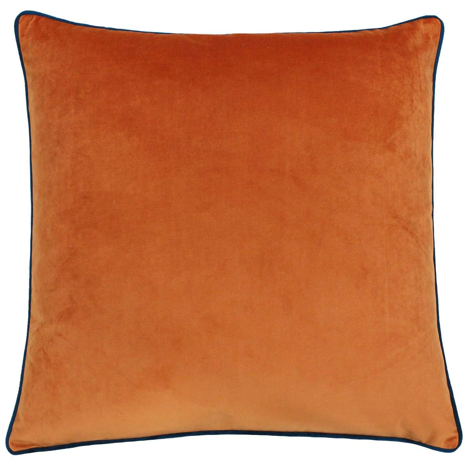Square Velvet Cushion with Contrast Piping - Tangerine/Teal