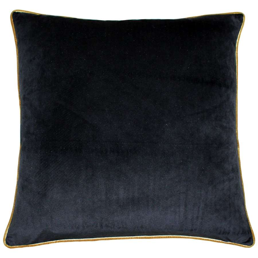 Square Velvet Cushion with Contrast Piping - Ebony Gold