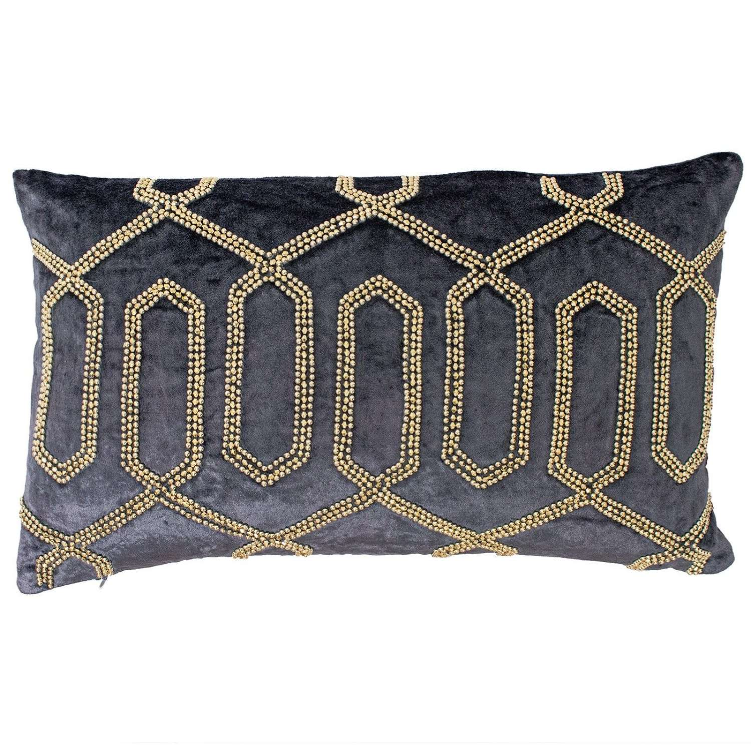 Oblong Beaded Cushion - Blue/Champagne