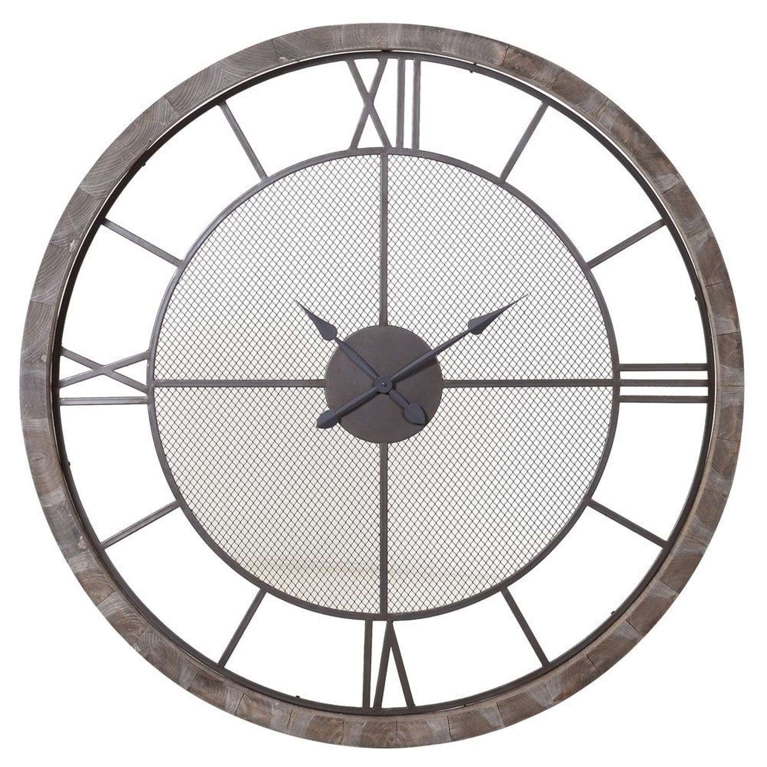 Very Large Wooden Framed Wall Clock with Metal Detail