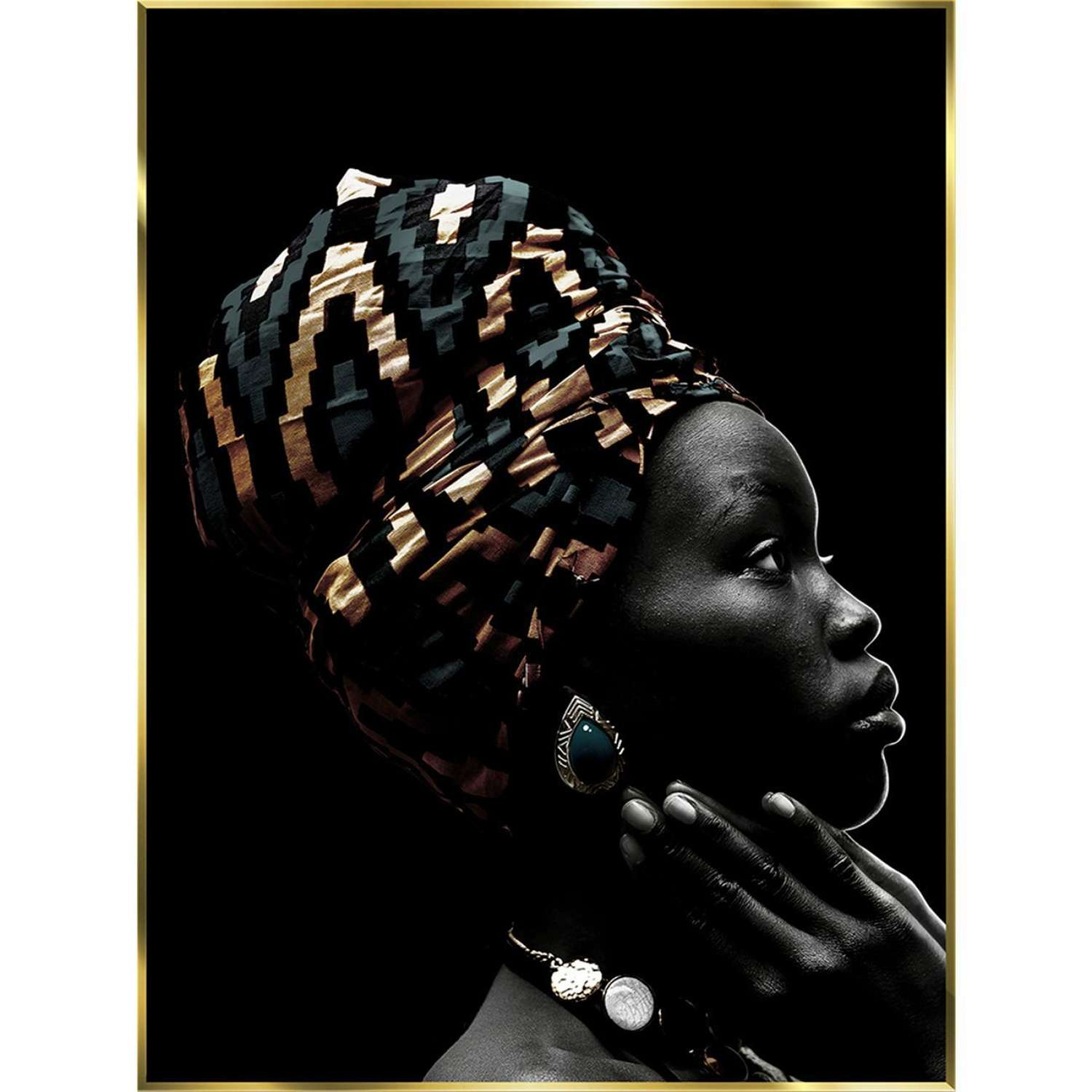 Glass Print in Gold Frame - African Beauty