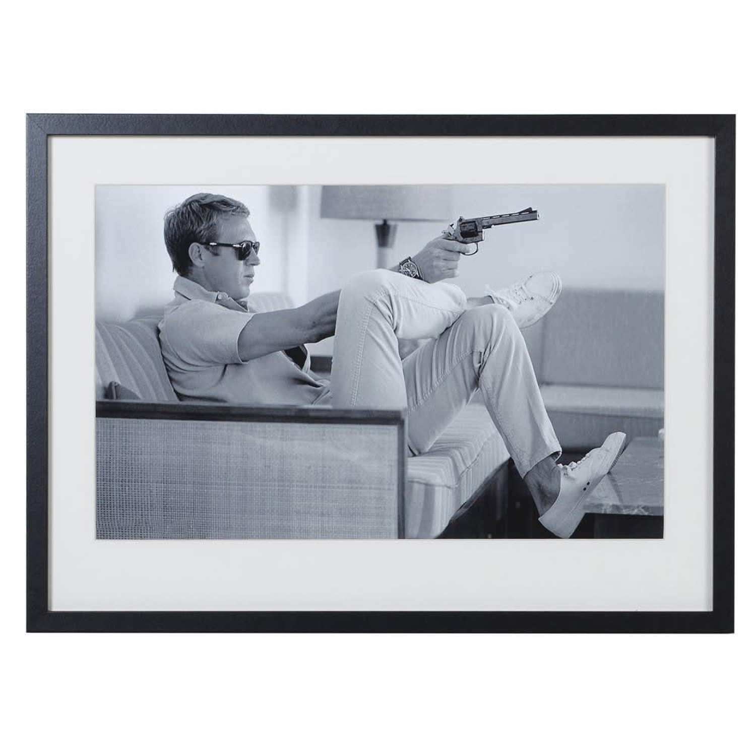 Large Framed Steve McQueen Print - Taking Aim