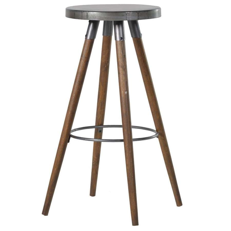 Round Bar/Kitchen Stool - Metal & Wood