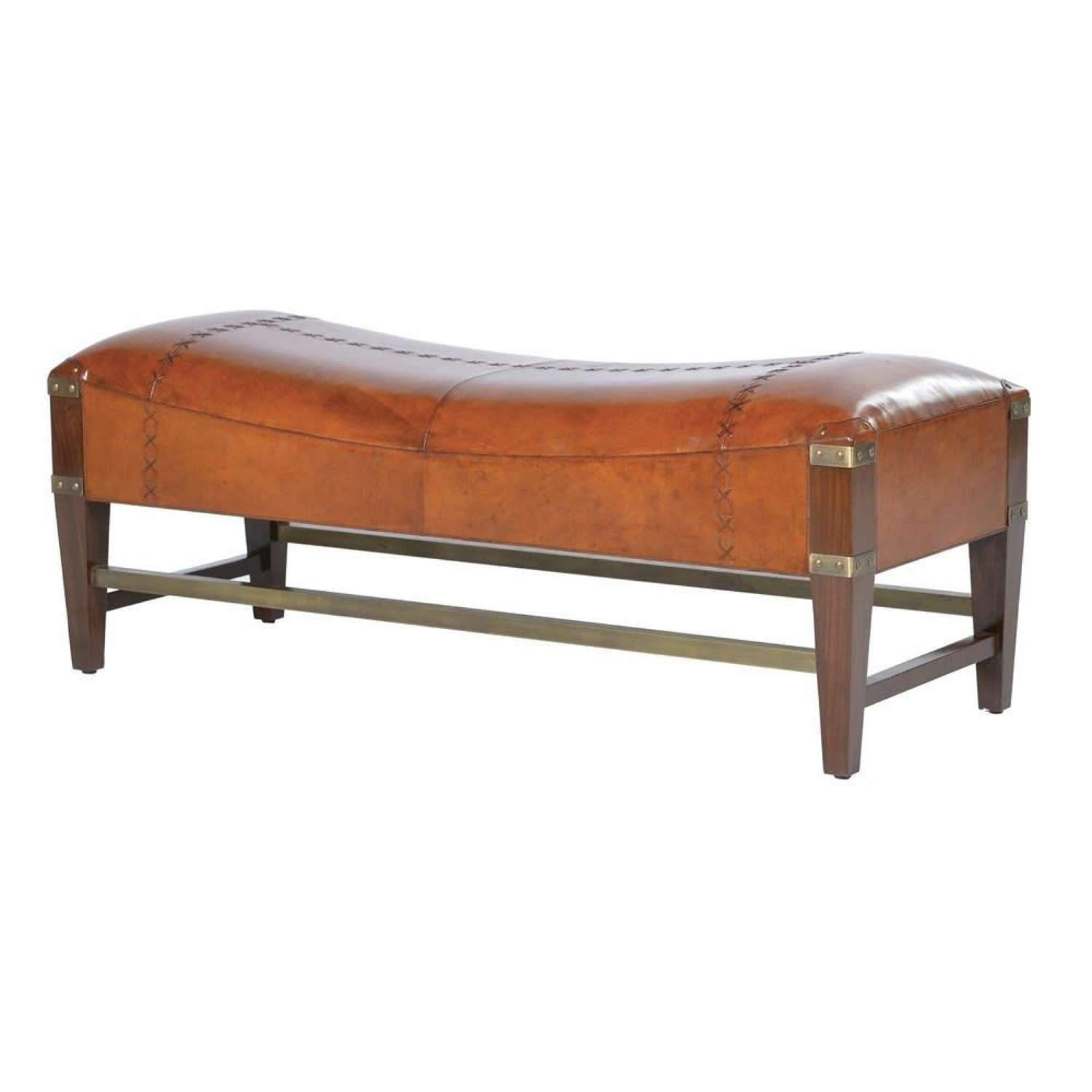Luxury Leather Shaped Bench with Wood and Brass