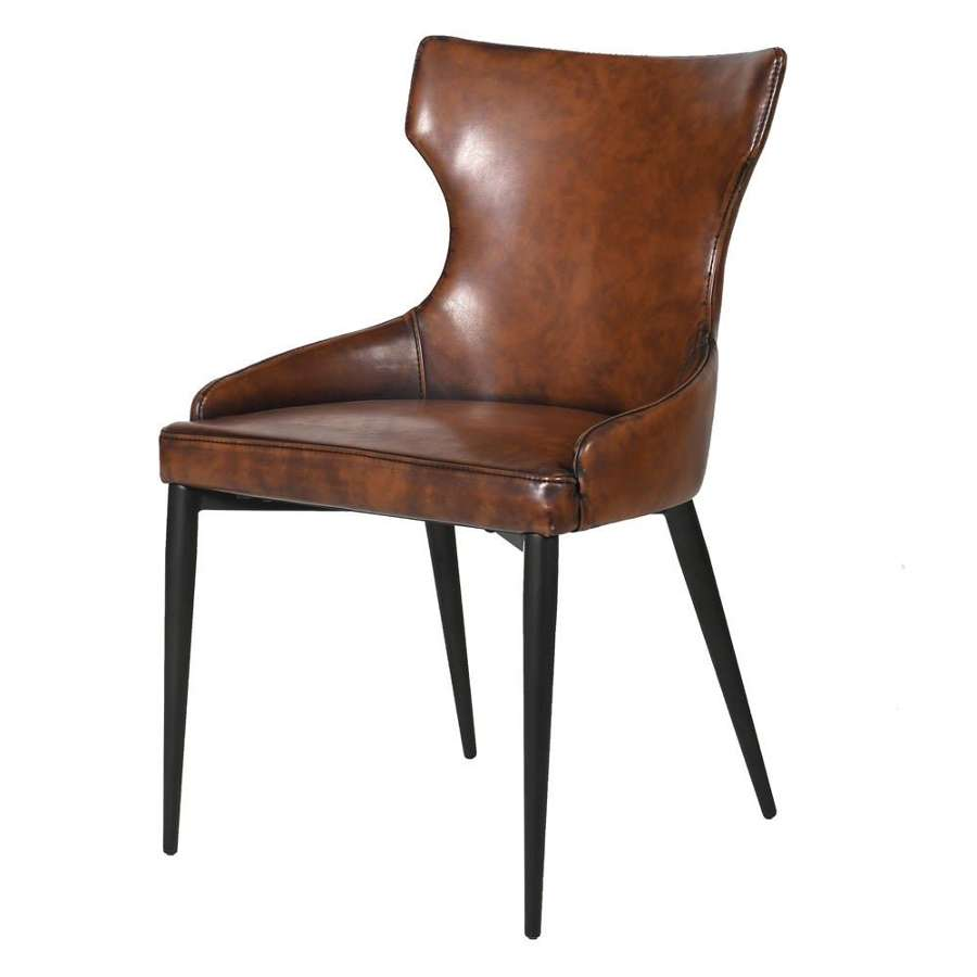 Shaped Faux Leather Dining Chair