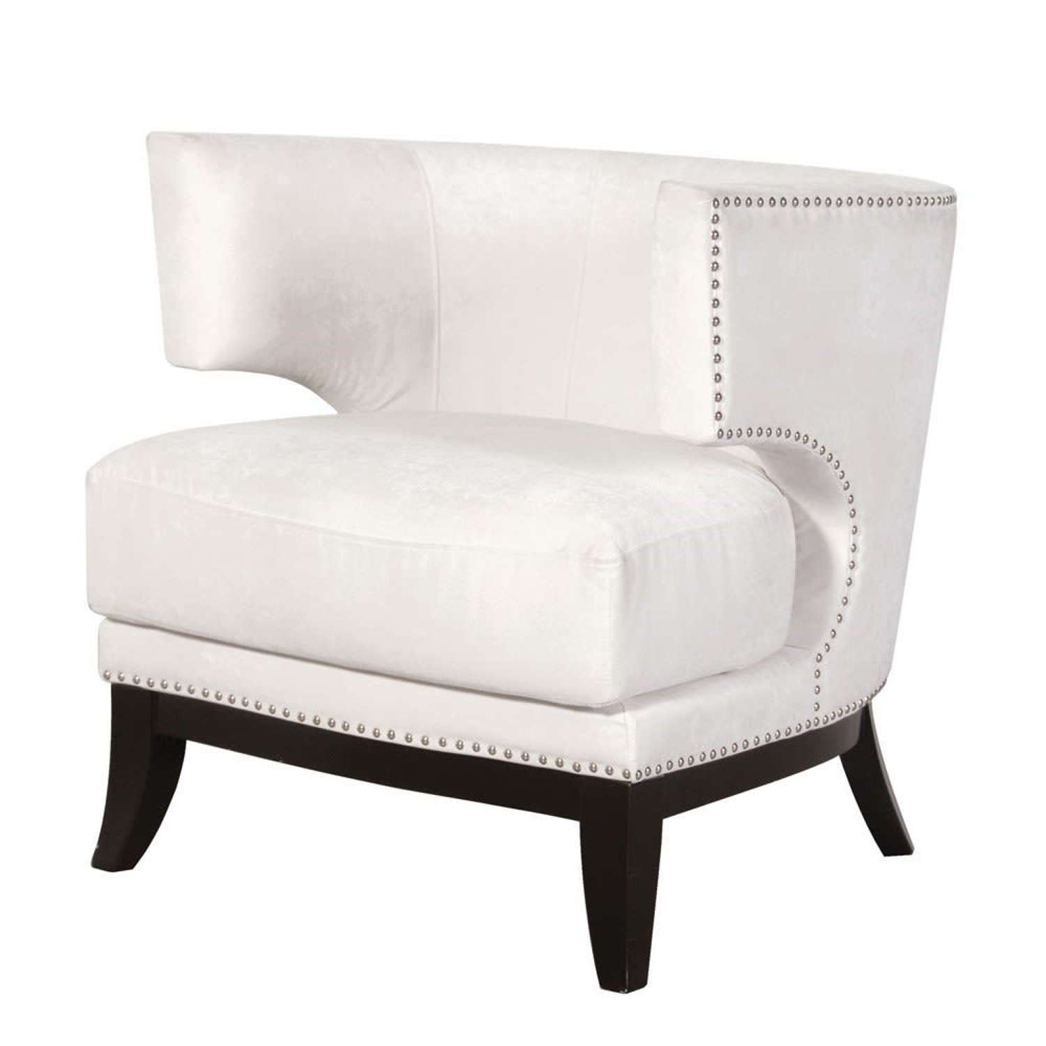 Studded Modern Shaped Arm Chair - Cream