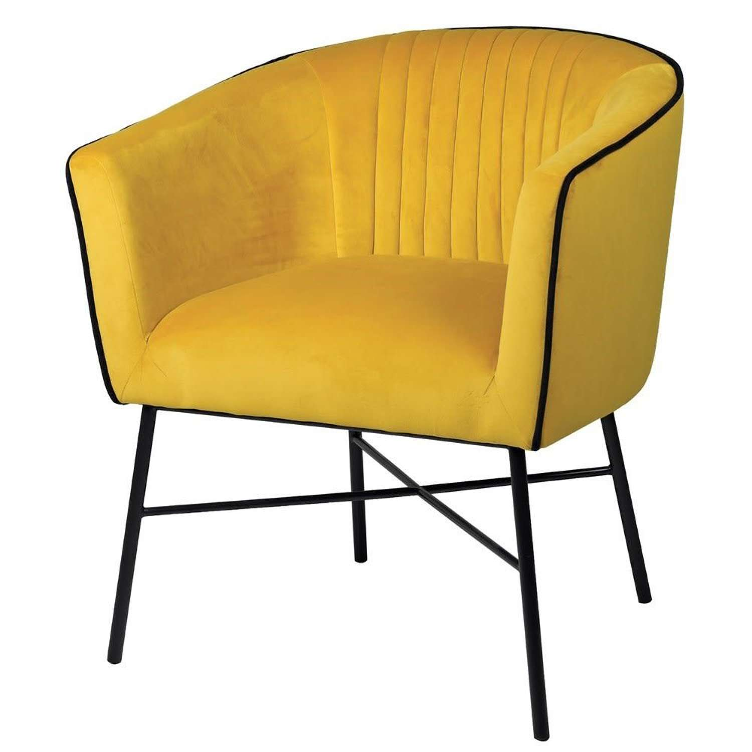 Yellow Accent Chair with Black Piping