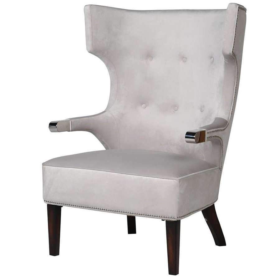 Modern Shaped Arm Chair with Studding and Chrome Detail